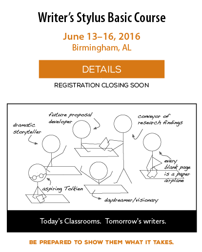 Writer's Stylus is an instructional writing and grammar program for K-12. Register for this summer's course, June 13-16 in Birmingham AL.