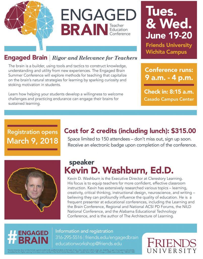 Engaged Brain: Rigor and Relevance for Teachers — Teacher Education Conference Jun 19-20 Friends University, Wichita KS